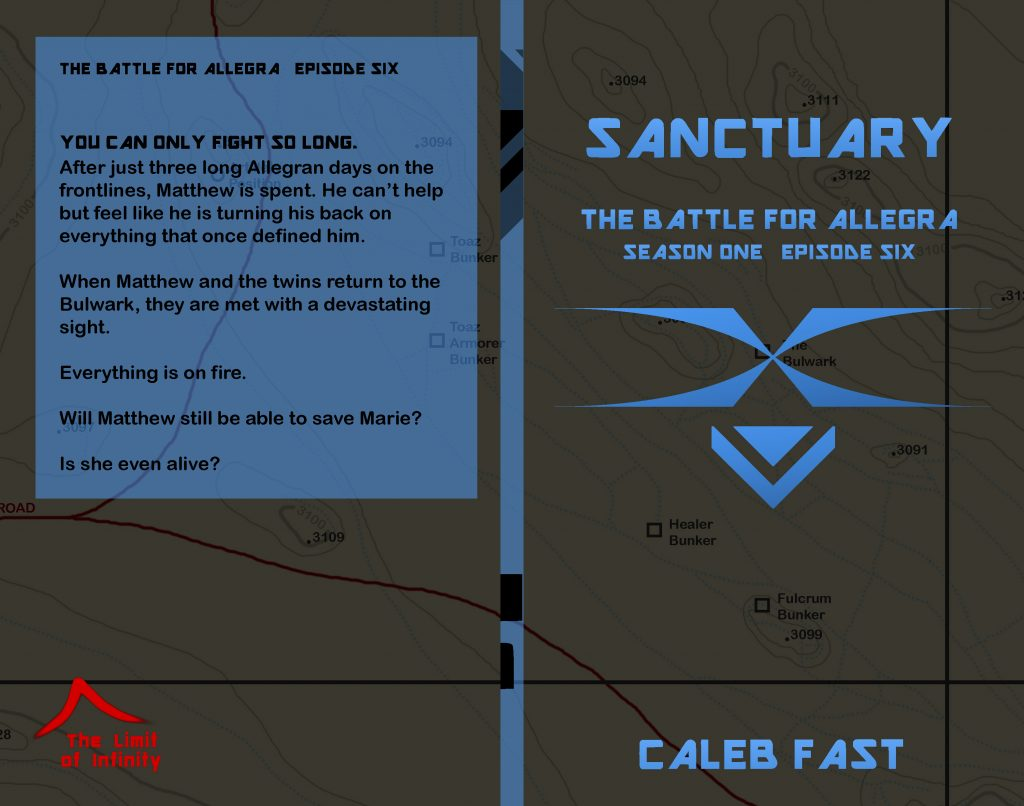 Cover for the newly released book: The Battle for Allegra: Sanctuary. Copyright Caleb Fast 2020