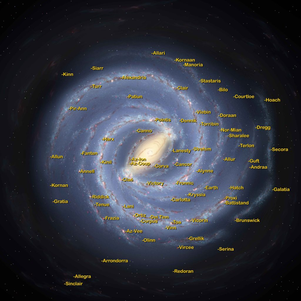 Starmap of the Milky Way from The Limit of Infinity universe by Caleb Fast Copyright 2020 Map shows the location and names of select planets from the author's universe.