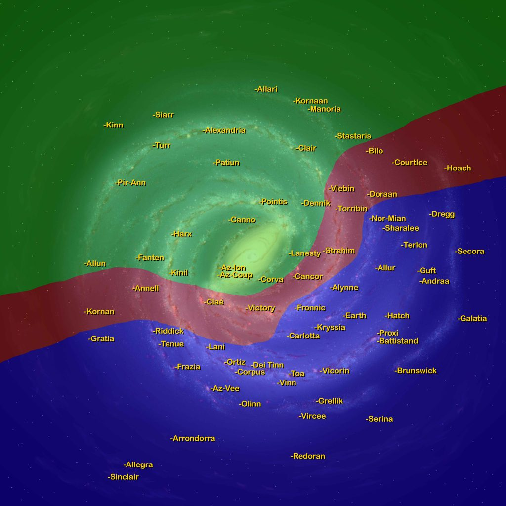 Starmap of the Milky Way from The Limit of Infinity universe by Caleb Fast Copyright 2020 Map shows the location and names of select planets from the author's universe. This map shows the current borders of the two powers that be.
